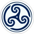 BTN/STK/BLUE - Blue TriSwirl Lapel Button